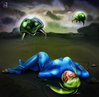Samus Aran Unconscious in an Alien World by sleepy-comics