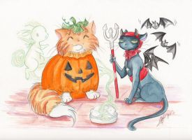 Halloween Cats by Tavicat