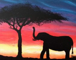 Elephant at Sunset by MaxCooper67