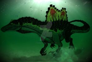 Spinosaurus aegyptiacus with background. by ThePredatorMan