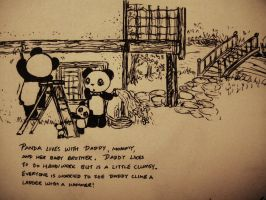 Panda and her Family by MelodicInterval
