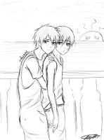 Sketch: Little MakoHaru by SinfulHime