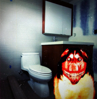Smile Dog Guarding Jeff's Crapper by MrAngryDog