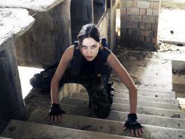 Lara Croft - at the stairs by TanyaCroft