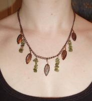 Unakite Leaf Necklace by Lost-in-the-day
