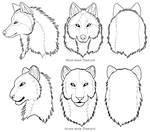 Wolf and Feline Face Templates by sugarpoultry
