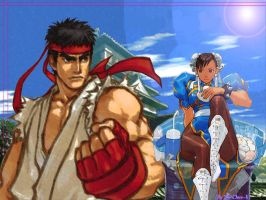 Ryu and Chun Li Wallpaper by biachunli
