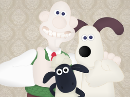 Wallace and Gromit + Shaun the Sheep by LilBumbleBear