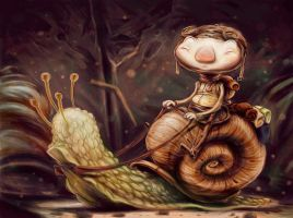 Snail rider by Coconuthead