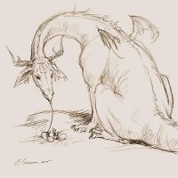 Dragon and Chick - scetch by Elruu