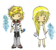 KH chibis-Roxas and Namine by Unichi