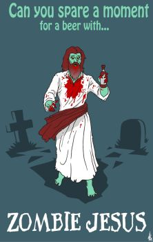 A beer for Zombie Jesus by skulldude