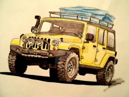 Jeep long wheelbase drawing by prestonthecarartist
