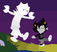 Karkat and Hobbes Colored by GameRat514