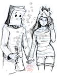 papercrown girl and paperbag boy by nikiju