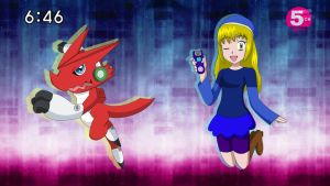 Digimon Hunter Haley and Shoutmon by FairyAurora