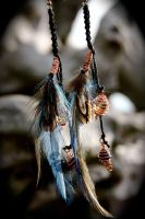 Citrine and Lapis Lazuli Macrame Feather Earrings by SpectralSun