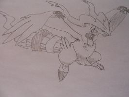 Flying Reshiram (line art) by Spyroconvexity