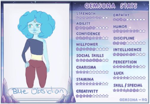 ( GEMSONA)  Blue Obsidian stats sheet by thewritersora