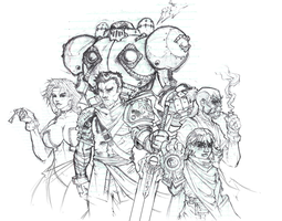 BattleChasers Complete Sketch by SLO-MO