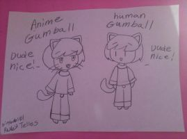 anime gumball and human gumball by bigbob101