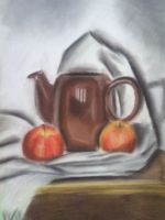 tea kettle and apples by Lukura