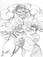 Sketch: Hulk and Banner by thejeremydale