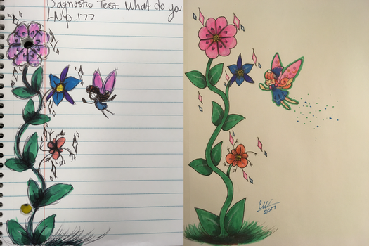 A Fairy and A Flower Sketch to Final Design by blackburn789