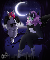 ~ Spoopy bat babes ~ by snooziewoo