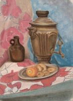 Samovar, pastel on paper by MaxaOn