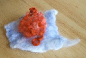 Blue and Orange Curly Flower by studiozoe