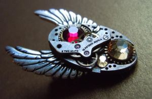 Time In Flight Victorian Steampunk Watch Pin by A-Sharper-Spectrum