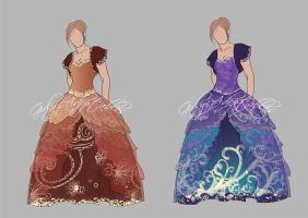 Outfit Adopt (Open) - Swirly Ball gowns by Girly-Adoptables