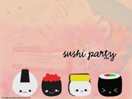 Sushi Party - Wallpaper by youtastelikecookies