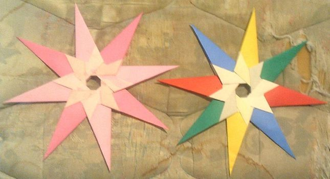 two origami new hope stars I made by Alisterlebeau