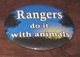 'Rangers do it with animals' button by BlackUnicornWood