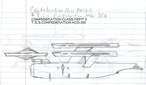 Confederation Class Refit 2 Paper Drawing by kaisernathan1701