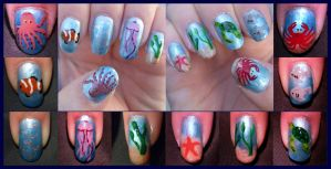 Sea Life Nail Art by quixii
