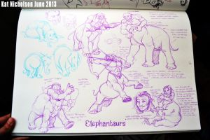 Elephantaur Concept-sketches by Kat-Nicholson