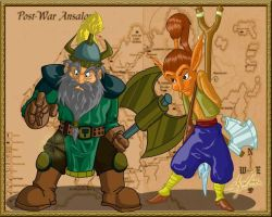 Dragonlance Flint and Tas by azrael-al10