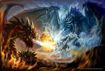 A battle of fire and cold lightning by BlackMysticA