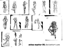 1000 Gesture Drawing Challenge - 85 to 100 by anime-master-96