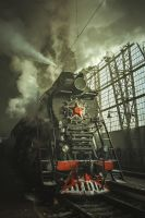 Old Soviet steam locomotive. by fly10