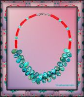 TURQUOISE AND CORAL NECKLACE by Voodoomamma