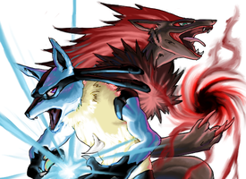 Lucario vs Zoroark by pablog143