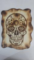 sugar skull pyrography finished  by snaplilly