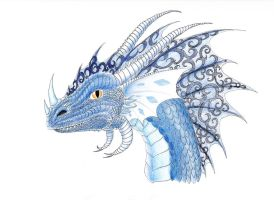 Blue dragon by SilverWolfi