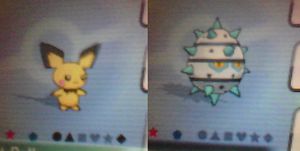 Shiny Pichu and Shiny Ferroseed in Pokemon AS