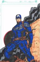 Captain America drawn and colored by me by vengaza