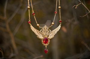Steampunk Brass Winged Red collar Phoenix by Johanna-Ferrius